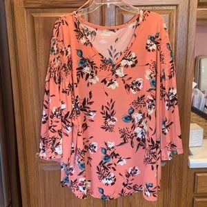 NWT! Peach floral shirt w/ sleeves, Sz- 3x